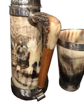 A Victorian Horse Racing themed Horn Tankard set