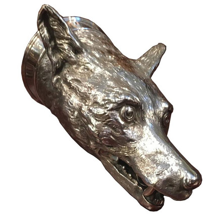 A very large Fox head sterling silver stirrup cup