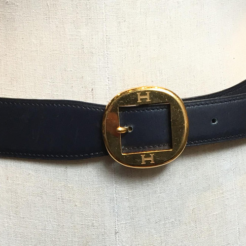 """Blue with circle """"H"""" buckle"""