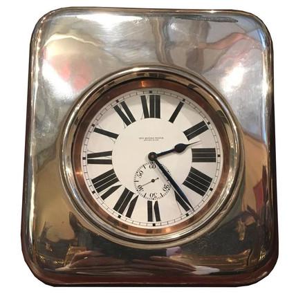 A very large silver and crocodile skin Goliath clock
