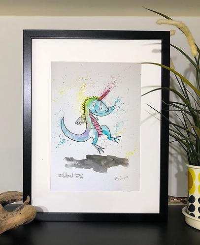 Blue Dinocorn Print