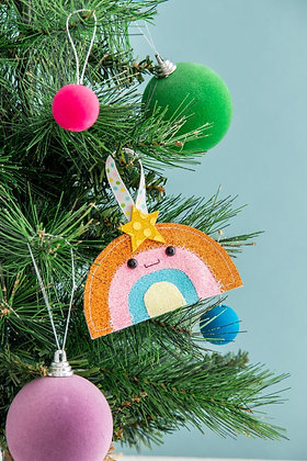 Glitter Rainbow Christmas Tree Decoration