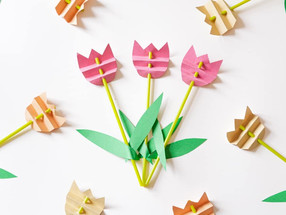 Easy flower mess free kids craft with straws