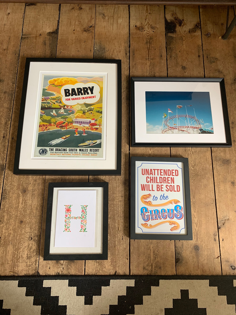 Display frames for gallery wall of Barry Island near Cardiff South Wales
