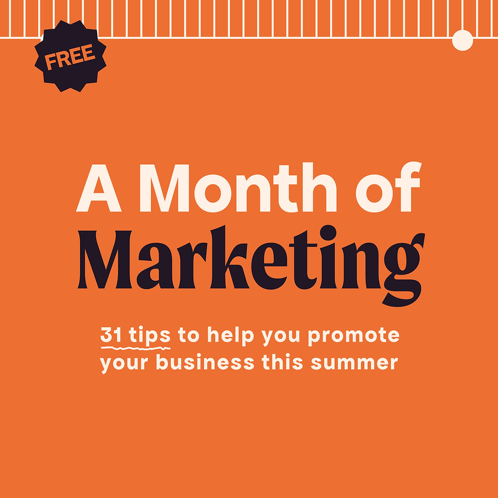 An orange graphic to promote A Month of Marketing by Hannah Isted