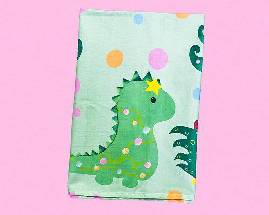 Dinosaur Christmas tea towel