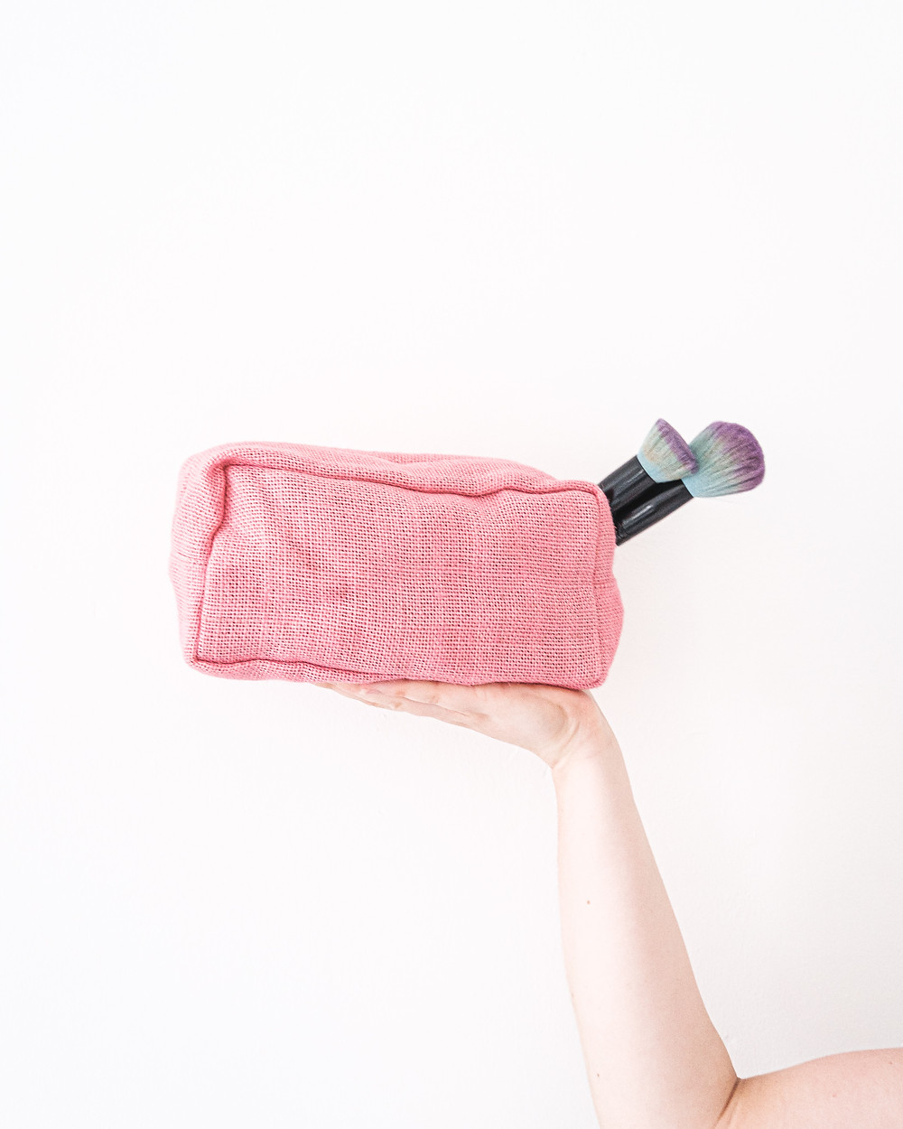 Pink Jute Makeup Bag from Ecofully eco-friendly swap for plastic free July