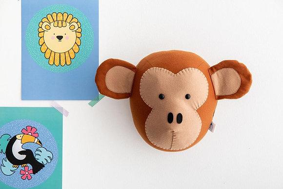 Felt Monkey Animal Head
