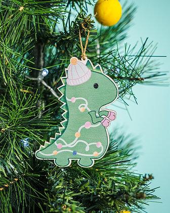 Christmas Dinosaur Decoration