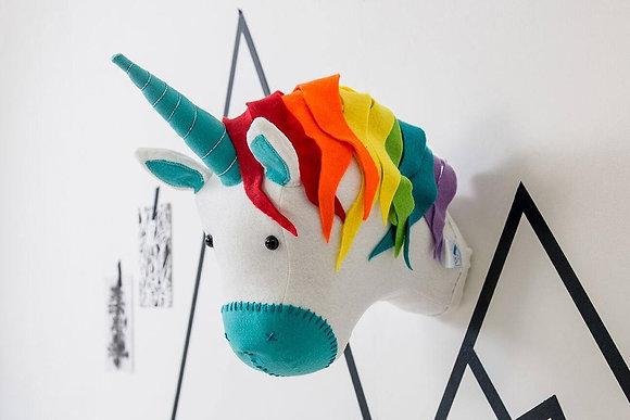 Rainbow Unicorn Felt Animal Head
