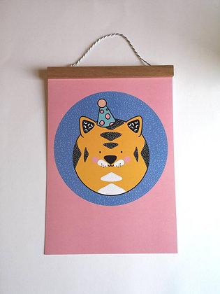 Pink Tiger Wall Art Print