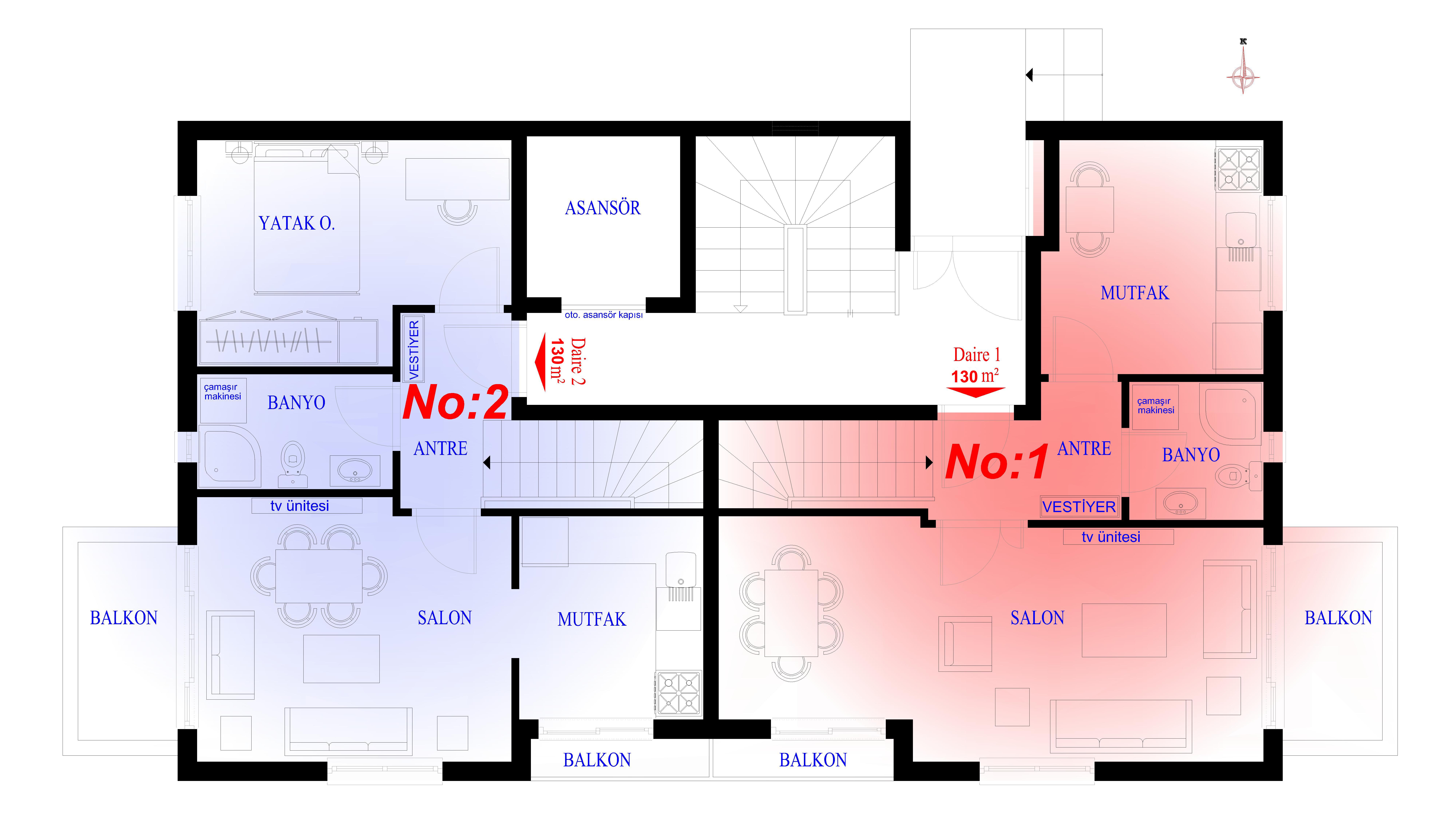 (3+1) üst kat plan