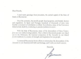 Benjamin Netanyahu apoia a Reconectar