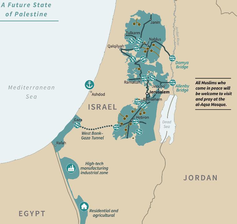 Área verde seria o Estado Palestino