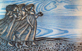 Three Women Looking out to Sea