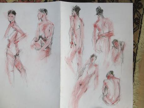 Multiple poses in a sketchbook