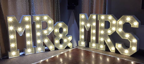 Illuminated Mr & Mrs Sign Hire around the North West, Lancashire and Cheshire