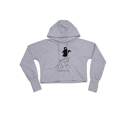 Organic Cropped Hoodie Grey - Pinguino
