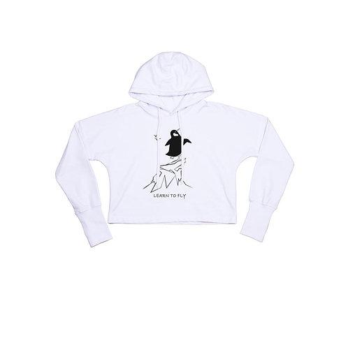 Organic Cropped Hoodie White - Pinguino