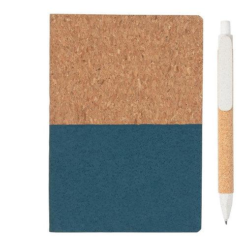 Set Taccuino Blu e Penna Bianca Sughero