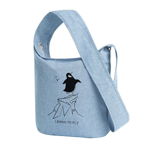 Recycled Shoulder Bag Blue Fog - Pinguino