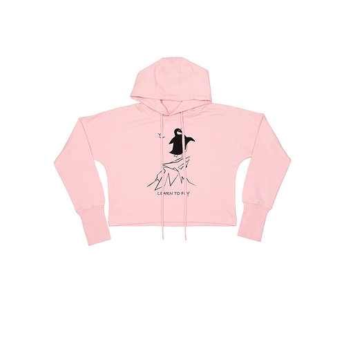 Organic Cropped Hoodie Soft Pink - Pinguino