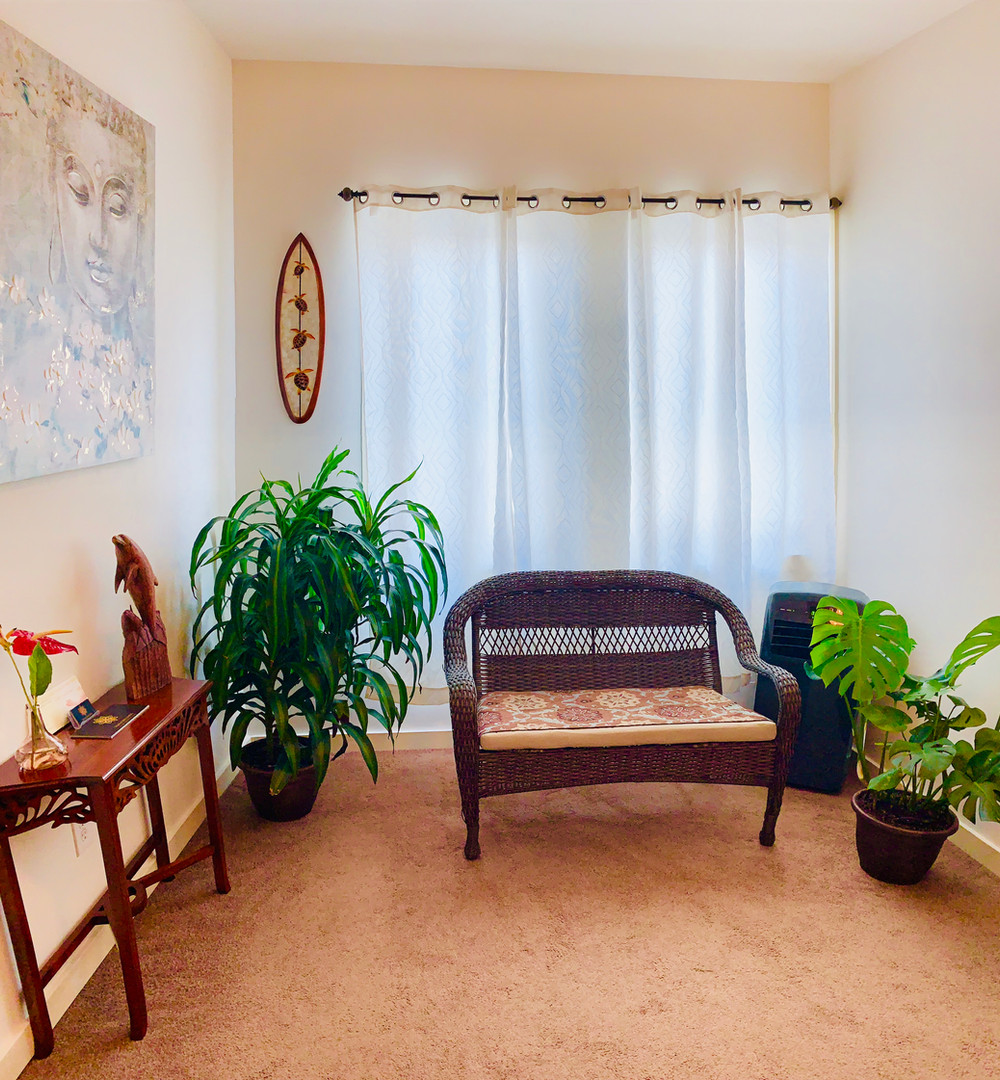 A comfortable spot to sit during our assesment of your needs before your massage.