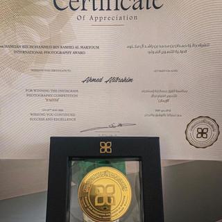 Gold Medal form Hamdan Bin Mohammed Bin Rashid Al Maktoum International Photography Award (FAITH)