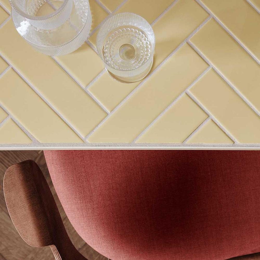 yellow-herringbone-tile-table