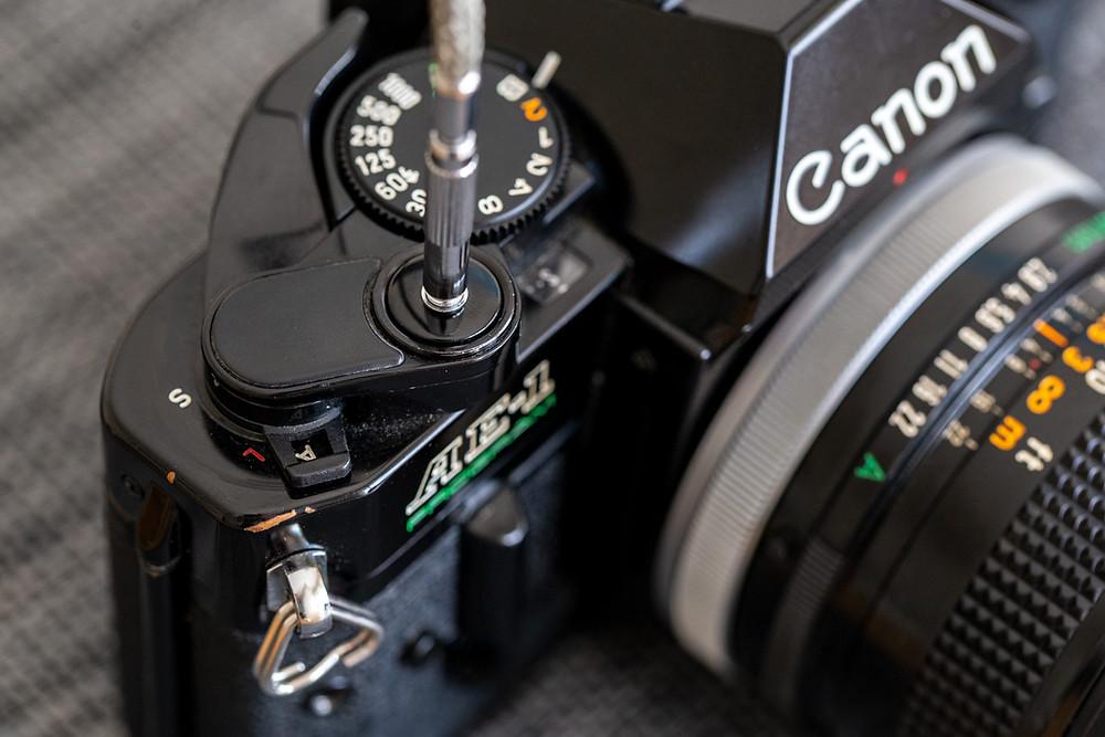 Canon AE-1 Program mit Drahtauslöser