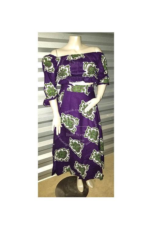 Purple Ankara Crop Top & Wrap Skirt Set