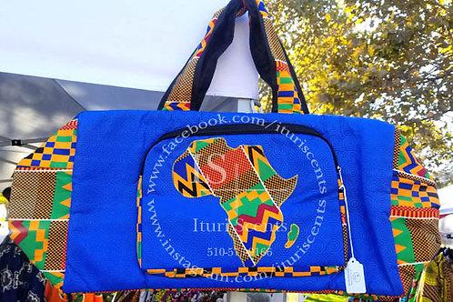Large Blue Africa Duffel Bag