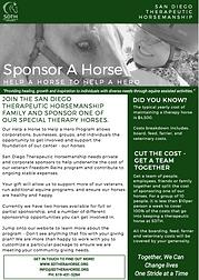 SDTH Horse Sponsorship Flyer