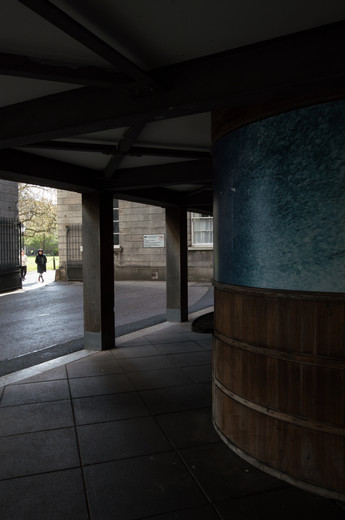 The undercroft of the entrance to the Samuel Beckett Theatre in Trinity College, Dublin.