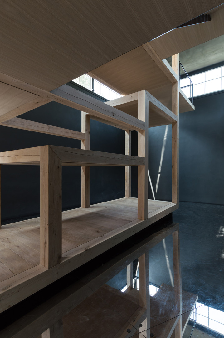 Undercroft of timber beam structure of Austria's pavilion at the Venice Biennale 2018