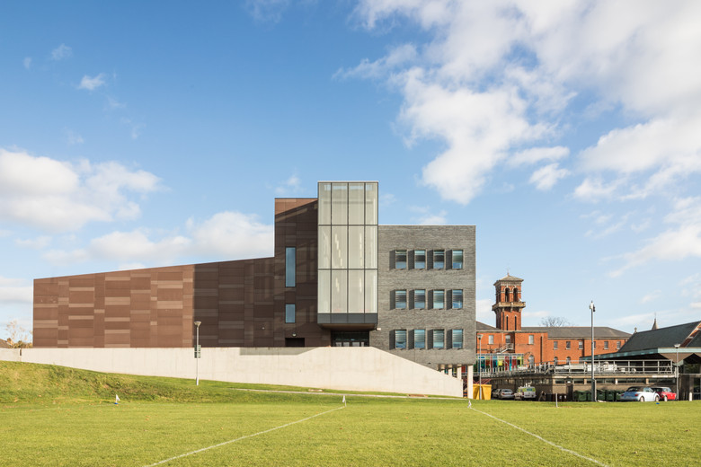 View from sports field of main campus development of St.Pats, DCU campus, Dublin