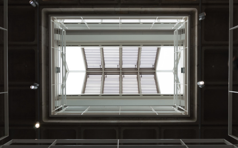 Internal view of the central atrium of the Engineering Building in UCD, Dublin