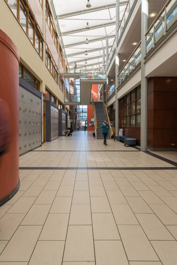 The ground floor of the central atrium of the Chemical and Biological Sciences Building in UCD, Dublin