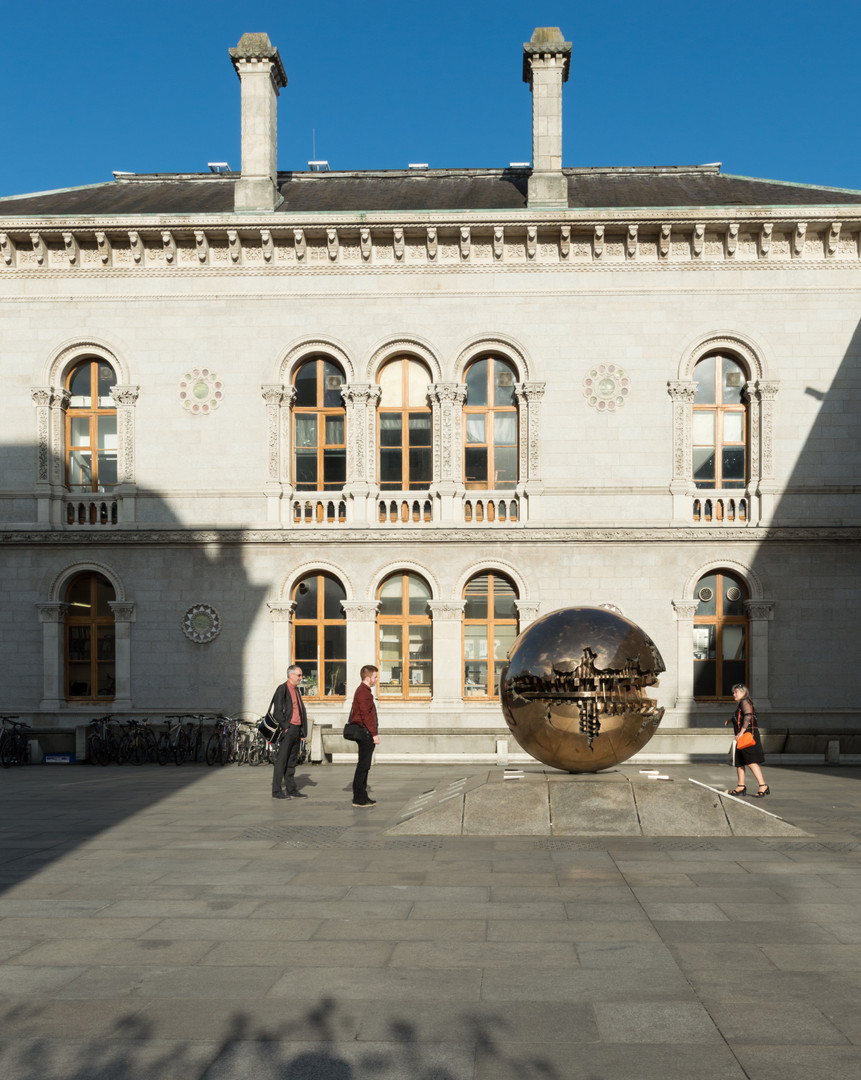 Museum Building and Sphere with Sphere seen from the courtyard of the Berkeley Library, Trinity College, Dublin