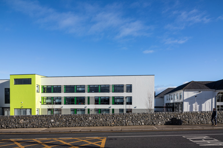 View from Sheares Street of the existing building and extension at Colaiste Iosaef, Kilmallock, Limerick