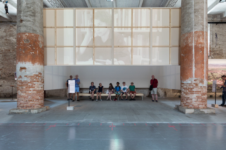 People watching screen of Sergison Bates Architects pavilion at the Venice Biennale 2018