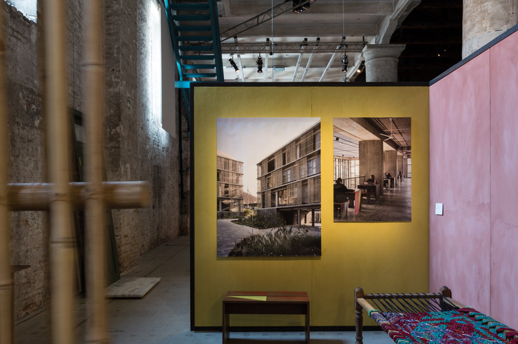 Photos on display at the pavilion designed by Case Design at the Venice Biennale 2018