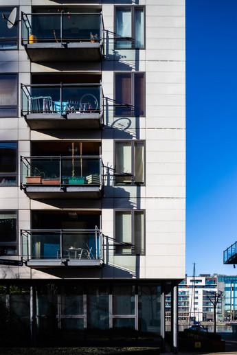 Elevation of balconies of Millenium Tower in Dublin