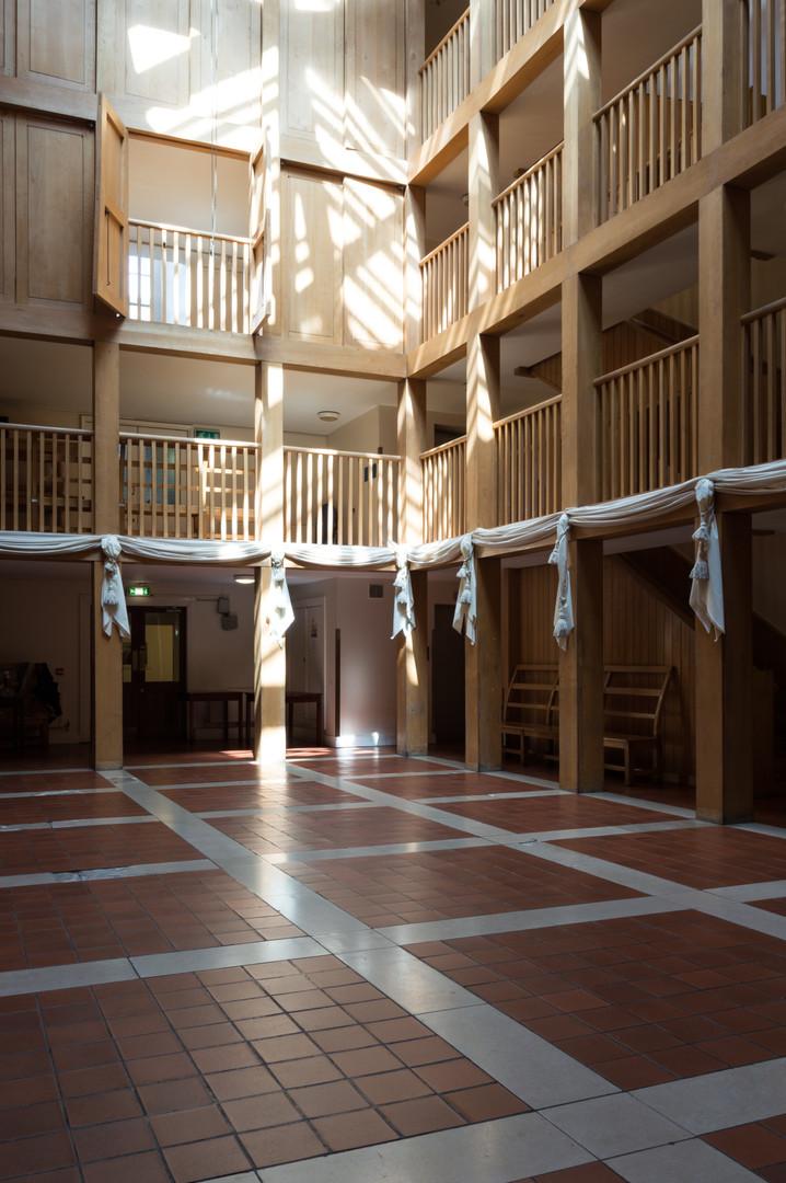 The oak clad Atrium in Trinity College Dublin,