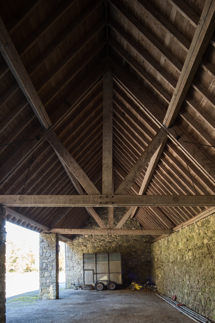 Timber roof and stone wall shed of Hollywood House, Limerick