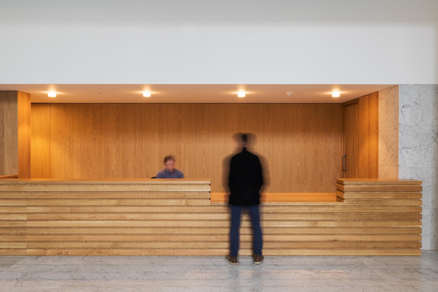 Timber reception desk of Hanging Gardens in Limerick