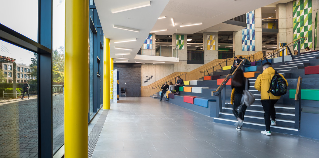 View of exterior from the bottom of the auditorium in the Student Hub in DCU, Dublin