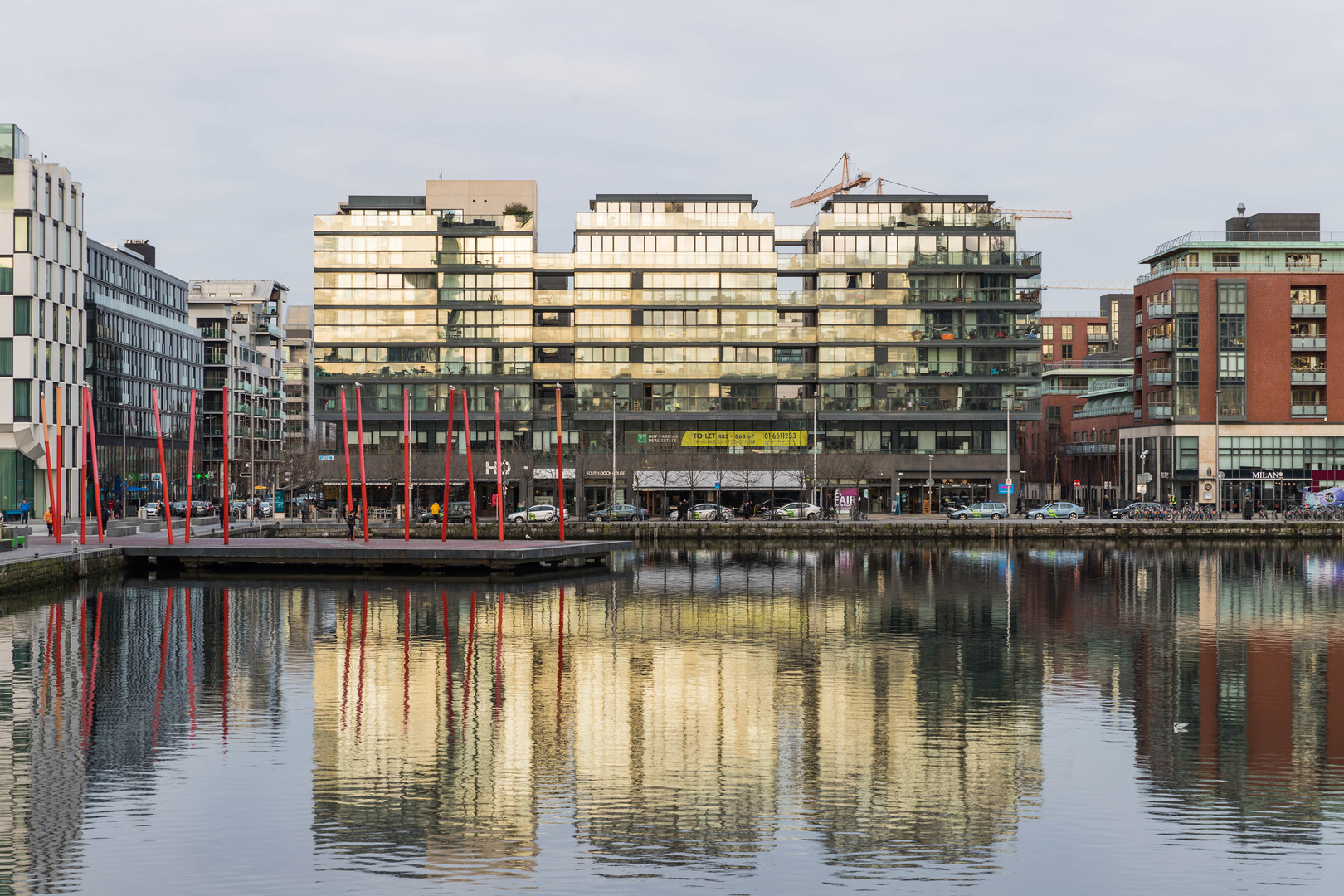 View of Hanover Quay across Grand Canal Dock in Dublin