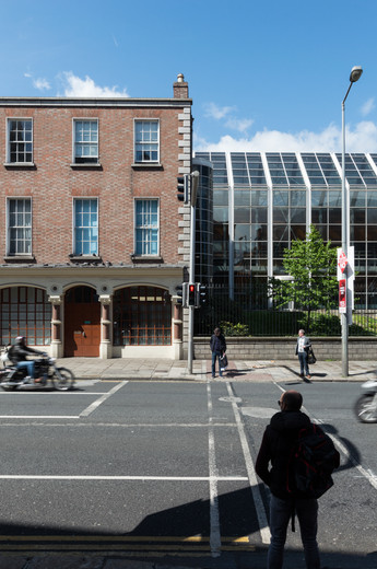 View from Westland Row of O'Reilly Institute at Trinity College, Dublin