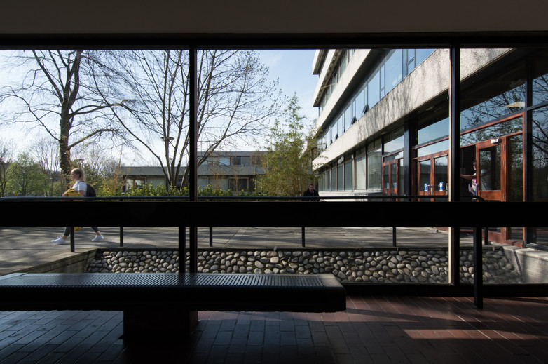 View from interior of entrance to the Administration Building in UCD, Dublin